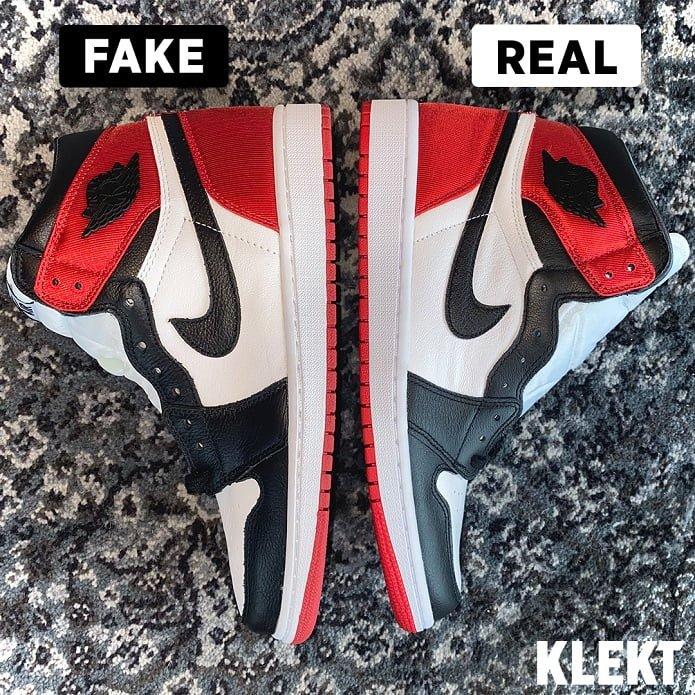 How to Spot a Fake Air Jordan 1 High Satin Black Toe - KLEKT ...