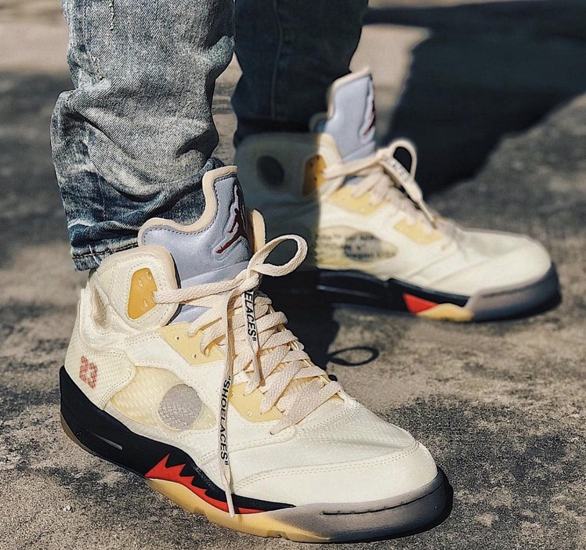off white jordans on feet